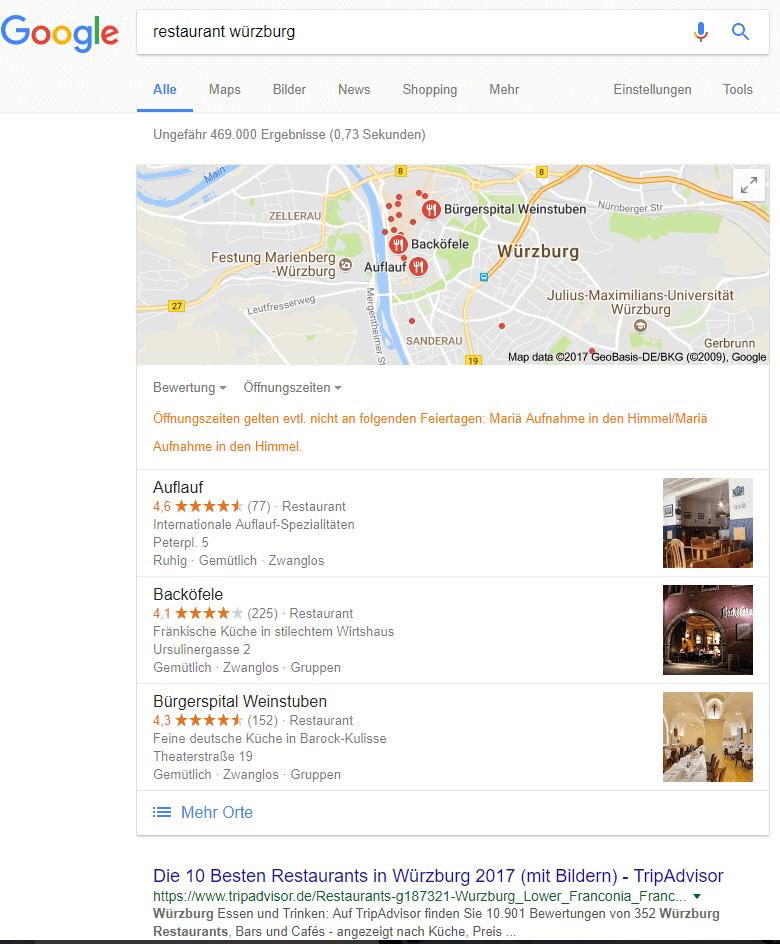 Local Pack zu Restaurant Würzburg